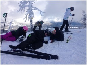 Tess, Max, Jane, Carina, and Catri measuring the elevation and steepness at the top of the Bluebird Chair. Is it work? Is it play? Most days at the Alzar School leave me unsure of the difference.